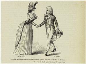 Bonnet à la houzarde et robe de dolman; 1792. (1882)