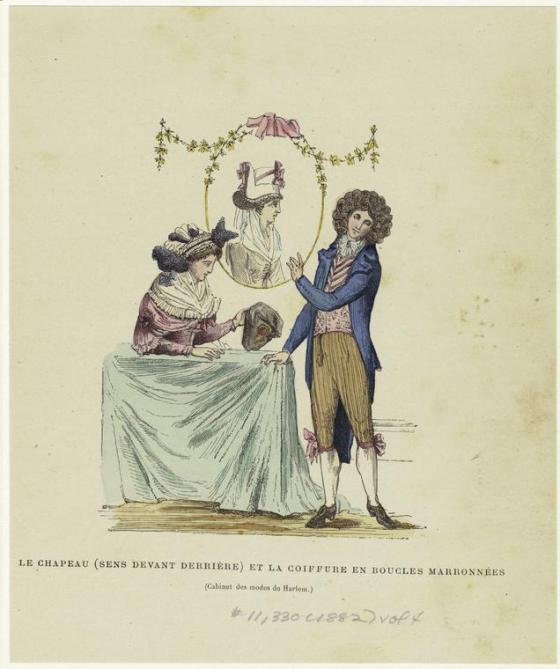 Le chapeau (sens devant derrière) et la coiffure en boucles marronnées. (1882)