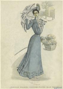 Parisian walking costume -- pastel blue veiling. (1899)