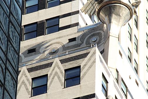 Nyc chrysler building hub caps and hood ornaments for Chrysler building lobby mural